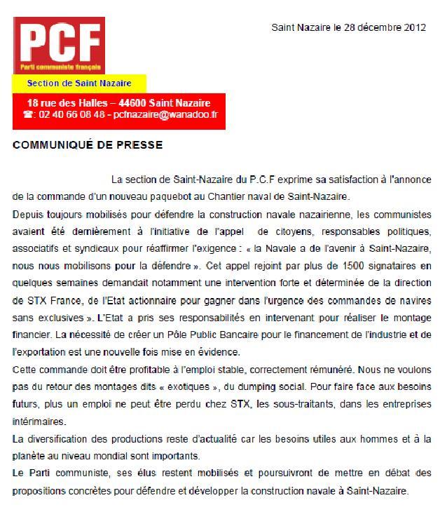 Communiqué de presse des communistes de Saint-Nazaire dans LIRE, REFLECHIR, S'INFORMER, REAGIR communique-de-presse-section-de-saint-nazaire-le-28-12-12